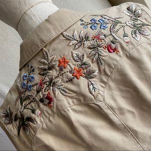 Ralph Lauren Boho Western Embroidered Khaki Jacket